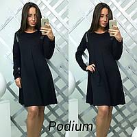 Женское модное платье-трапеция со вставкой эко-кожи (5 цветов), фото 1