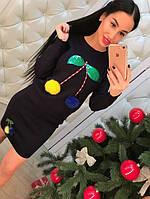 """Женский модный костюм """"Вишенки"""": свитер и юбка , фото 1"""