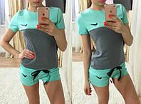 """Женский повседневный костюм: футболка и шорты """"Nike"""" (4 цвета), фото 1"""
