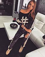 """Женский модный велюровый костюм с бежевыми вставками """"Хэштэг #"""", фото 1"""