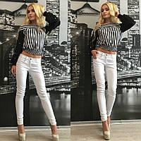 Женские модные джинсы (2 цвета) + (Большие размеры) Зауженные, Молния, Средняя посадка, Лето, стрейч, Украина, 54, белый