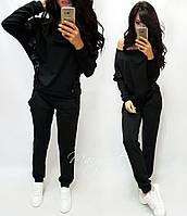 Женский стильный спортивный повседневный костюм  (2 цвета) черный, S