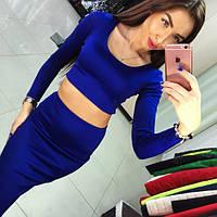 Женский модный облегающий костюм: топ и юбка (2 цвета), фото 1