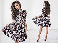 Женское шикарное платье с юбкой солнце и цветочным принтом