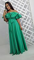 Женское стильное платье в пол с двойным воланом и поясом (3 цвета)