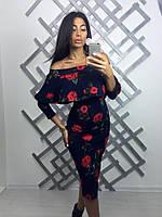 """Женское модное платье-миди с воланами """"Цветы"""" (2 цвета) принт-1, S"""