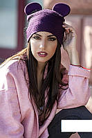 Женская стильная шапка с вуалью и ушками (7 цветов) фиолет