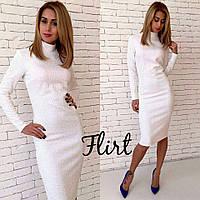 Женское модное теплое платье до колен (5 цветов) S, марсала
