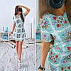 Женское красивое платье-трапеция в цветок + пояс(отдельно)