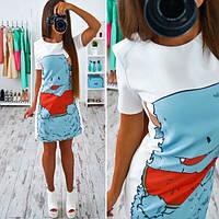 Женское стильное платье трапеция с принтом