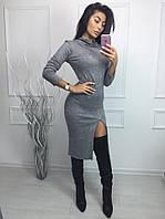 Женское стильное платье из ангоры с разрезом по ноге (2 цвета), фото 1