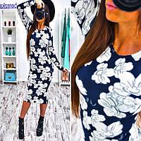 Женское стильное платье-миди из ангоры (3 принта), фото 1