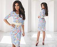 Женское модное платье до колен с цветами (4 цвета) голубой, 44