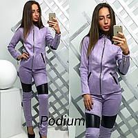 Женский замшевый костюм с кожаными вставками (2 цвета)