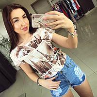 Женские стильные джинсовые шорты с потертостями с