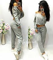 Женский модный спортивный костюм: кофта-топ и брюки (2 цвета), фото 1