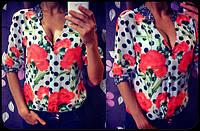 """Женская шифоновая блуза в горошек """"Маки"""" (2 цвета) темно-синий"""
