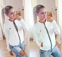 """Женская стильная """"кожаная"""" куртка с карманами (2 цвета) черный"""