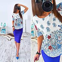 Женский стильный яркий летний комплект: блуза и юбка-карандаш (3 цвета) (или отдельно), фото 1