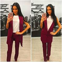 Женский стильный комплект: жилет и брюки в расцветках (+ большие размеры) беж, 46