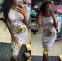 """Женский стильный костюм """"Цветы"""":майкаи юбка , фото 1"""