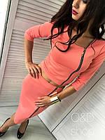 Женский стильный костюм-двойка: кофта и юбка с молнией (6 цветов)