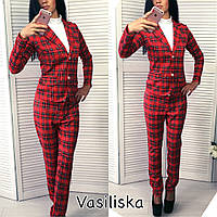 """Женский модный костюм в клетку: пиджак и брюки """"Шотландка"""" красный, M"""