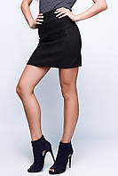 Женская стильная замшевая короткая юбка-трапеция