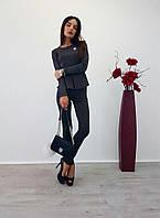 Женский модный костюм: блуза-баска и брюки (2 цвета), фото 1