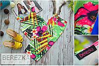 Женский яркий красивый костюм с тропичным принтом: топ и юбка-карандаш миди