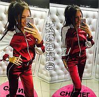 Женский модный атласный костюм: кофта на молнии и штаны (3 цвета), фото 1