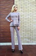 Женский красивый костюм-двойка:кофта с баской и брюки (8 цветов)