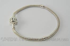 Серебряный мягкий браслет типа Пандора