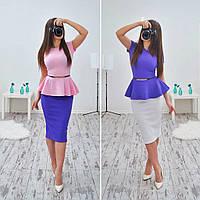 Женский стильный костюм: баска и юбка-карандаш (очень много расцветок), фото 1