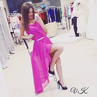 Женское шикарное ассиметричное платье в пол с пояском (4 цветов) С, мята