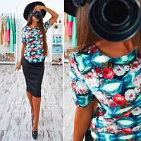 Женский стильный костюм: блуза и юбка карандаш (2 цвета), фото 1