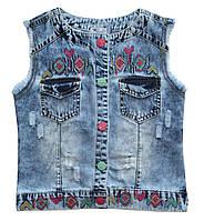 Джинсовая жилетка для девочки с вышивкой Overdo Kids 4737 р.116 голубой