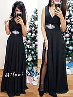 Женское стильное шелковое платье в пол с украшением (5 цветов) электрик, 42-44