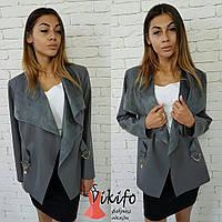 Женский модный тренч из эко-кожи на замше серый, S-L