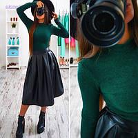 Женский модный костюм: гольф из ангоры и кожаная юбка-миди солнце (5 цветов) зеленый, S