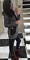 """Женское стильное пальто твид с капюшоном и отделкой """"кожи"""""""