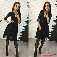 Женское модное гипюровое платье с подкладкой и поясом (4 цвета) черный, 42-44