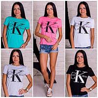 """Женская стильная футболка """"Calvin Clein""""(5 цветов), фото 1"""