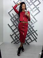 Женский стильный повседневный костюм-двойка: кофта-топ на молнии и юбка-карандаш (3 цвета)