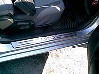 Mitsubishi Lancer 9 2004-2008 гг. Накладки на пороги Турция (4 шт, нерж) OmsaLine - Итальянская нержавейка