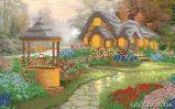 Ткань с рисунком для вышивки бисером Уютный коттедж