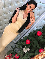 Женское модное платье-утяжка с люрексом (3 цвета) беж, 42-44