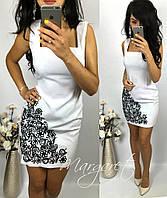 Женское шикарное белое платье с узором, фото 1