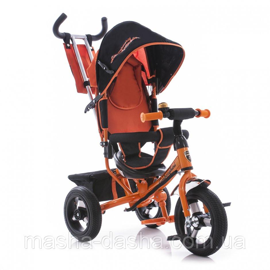 Детский трехколесный велосипед Azimut AIR Lambortrike оранжевый надувные колеса