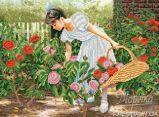 Ткань с рисунком для вышивки бисером Розы алые в саду